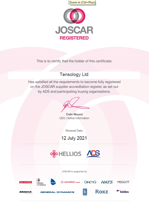 JOSCAR accreditation mark for TENSOLOGY